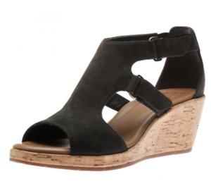 Clarks Un Plaza Sling Womens UK 6 E Wide Black Nubuck Riptape Wedge Heel Sandals