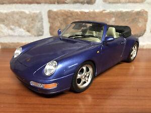 PORSCHE 911 993 CARRERA CABRIO 1:18 BURAGO BOX LEGGI !!