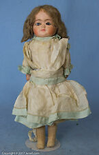 """New listing 11"""" Antique Paper Mache Doll w Glass Eyes & Beautiful Silk Clothing"""