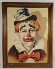 Vintage Framed Number Painting On Board Of Sad Clown