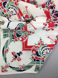 """Vintage~MEXICAN FIESTA 1950's Cotton Tablecloth~33""""x33""""~Bold Colors"""