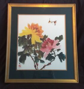 "Japanese/Chinese Print Flower Bamboo Butterfly Gold Frame signed 28.75"" x 25.25"""
