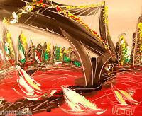 AMERICANA modern abstract landscape Contemporary original art deco gwg3