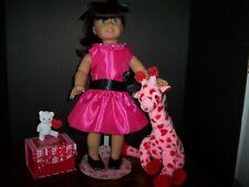 "Valentine Day Pink/Black Satin 20's Style W/""Diamond"" Dress 18-21"" American Girl"