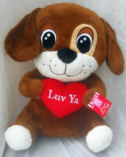 "Brown White Puppy Dog Plush 18"" Luv Ya  on Red Heart Dan Dee NWT 2014"