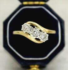 9CT GOLD DIAMOND TRILOGY TWIST RING SIZE M, ENGAGEMENT, 9K, 0.19 CT DIA, 1940's