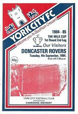 Football Programme>YORK CITY v DONCASTER ROVERS Sept 1984 Milk Cup