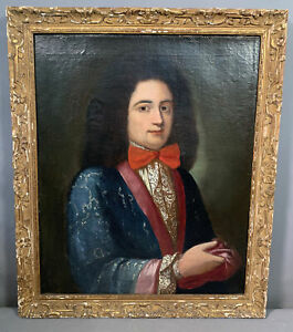 LG 18thC Antique FRENCH GENTLEMAN Old BOW TIE SILK JACKET Oil PORTRAIT PAINTING