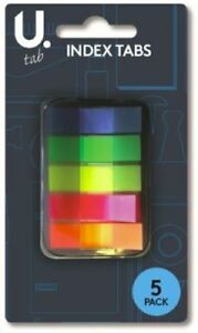 Neon Index Tabs Case Plastic School Office Adhesive Sticky Page Markers Bookmark