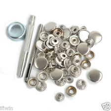 15 Sets 17mm Silver Metal Snap Fasteners Press Studs Kit Buttons w/Punch Tool US