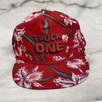 Vintage Floral Strap Trucker Hat TRUCK ONE logo Red 90s Loud