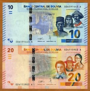 SET Bolivia, 10;20 Bolivianos, 2018 P-New, Complete redesign, UNC