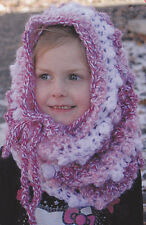 Crochet Pattern ~ CHILDS CANDY STRIPES HOODED COWL ~ Instructions