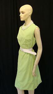 70s VINTAGE BOHO ELECTRIC ACID GREEN POLYESTER DOUBLE KNIT DRESS L-XL