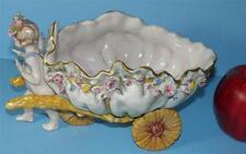 ANTIQUE CAPODIMONTE FIGURAL CHERUB PULLING CANDY DISH SHELL FLORAL WAGON MARKED