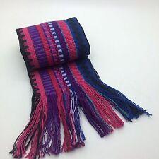 "Handwoven Latin American Ethnic Sash Belt Black Violet Blue Purple Pink  60"" L"