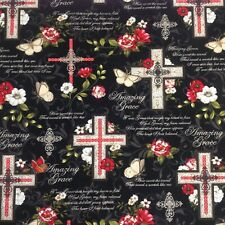 Amazing Grace Religious Christian Cross Faith Belief Cotton fabric by FQ 18