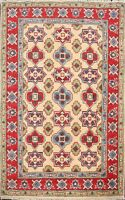 Geometric Super Kazak Hand-Made Oriental Area Rug Home Decor Wool Carpet 3x4 ft