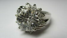 Zirconia Flower Band Ring Size 9 Sterling Silver Estate Round Brilliant Cubic