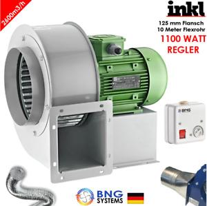 Radialgebläse 2600m3/h 230V FLANSCH + FLEXROHR + REGLER Luftabsaugung Ventilator