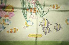 NWOT  Beautiful SALVATORE FERRAGAMO ocean marine scarf 100% SILK ITALY foulard