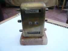 VINTAGE 1930,S BRASS DESK TOP PERPETUAL CALENDAR ON MARBLE BASE