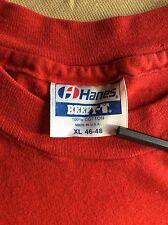 Vtg 80s Hanes Blank Red Pocket T-Shirt L/XL Plain Beefy 100% Cotton