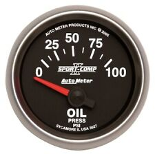 "Auto Meter 3627 2-1/16"" Sport-Comp II Electric Oil Pressure Gauge, 0-100 PSI NEW"