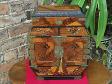 More details for japanese marquetry table cabinet with lacquered interior inside doors and lid