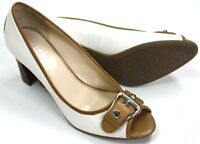 """Franco Sarto Womens Leather Pumps Ivory and Brown 3"""" Heels Buckle Toe Size 8M"""