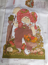 VINTAGE RED HAIR CABBAGE PATCH DOLL FABRIC PILLOW PANEL 1 DOLL  FRONT AND BACK
