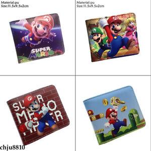 Super Mario Wallet Pu Short Bifold Card Photo Holder Fashion Boys Coin Purse