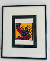 "Keith Haring ""Untitled"" Custom Framed Reproduction Pop Art Print. 10""×12"" 1993"