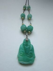 1920s NEIGER Bros Czech 'Peking' speckled glass necklace silver pressed glass