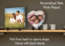 Personalised Custom Printed Rock Slate Square Desk Photo Best Wedding B'day Gift