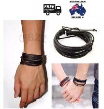 Mens Leather Wristband Wrap Bracelet Charm Boho Multi Layer Cord Tie Braid BLACK