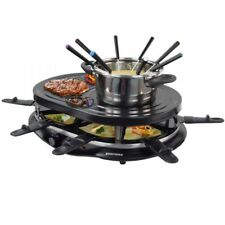 Raclette mit Grill und Heissem Stein und Fondue für 8 Personen Kontaktgrill