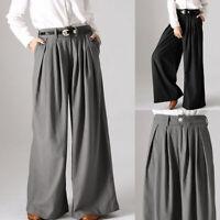 Women Plus Size Cotton Plain Palazzo Trousers Casual Wide Leg Pleated Pants NEW