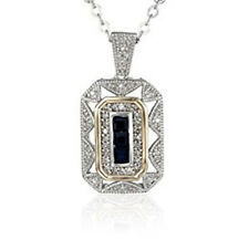 Women's Popular Jewelry Blue Sapphire 925 Silver Yellow Pendant Chain Necklace