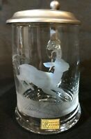 Rattenberg Kristallglas Beer Mug Stein H. Schober Etched Glass Lid Deer Antelope