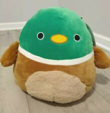 "New Large 12"" Fuzzy Tummy Squishmallow Avery Mallard Duck Rare Plush Soft Green"