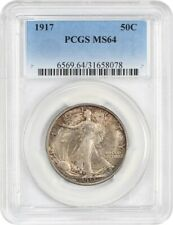 1917 50c PCGS MS64 - Early Walker - Walking Liberty Half Dollar - Early Walker