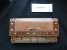 Brahmin Brown Silva Gold Studs Smooth and Croc Leather Soft Checkbook Wallet NWT
