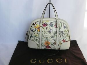 Gucci Nice Top Handle Bag in Flora Coated Canvas with Leather Trim