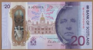 "BANK OF SCOTLAND ""RADAR NOTE"" £20  PREFIX [ BJ 670076 ] FREEPOST RECORDED UK"