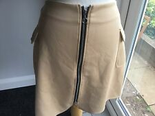 Missguided Ladies Camel Short Zip Front Skirt Size 12. New With Tags.