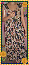 "70's S M L ""Free Size""VINTAGE BOHO Long Floral Dress Crinkle Sleeveless Pockets"
