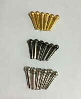 Metal Bridge Pins String Cone Nails For Acoustic Guitar Turned Pegs 6pcs Set