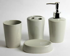 4PC TONAL GREY CERAMIC ROUND BATHROOM ACCESSORY SET SOAP DISH DISPENSER TUMBLER