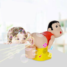 Kids Electric Soap Bubble Blower Fart Blowing Bubbles Machine w/ Light Music Toy